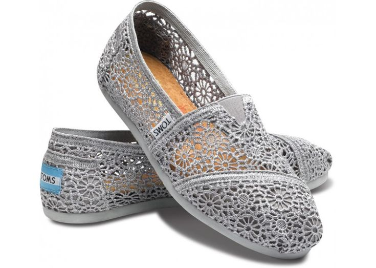 I'm a sucker for lacy anything...: Lace Toms, Crochet Toms, Tom Shoes, Silver Crochet, Toms Shoes, Women S Classics, Crochet Woman, Fashion Pin