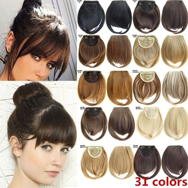 Multi-color Natural Hair Extension Clip In Front Hair Bangs Fringe human Straight Hair Front Hair Extensions Thin Neat Air Bangs Real Human Hair Clip on Bangs Clip in Front Fringe Hairpiece