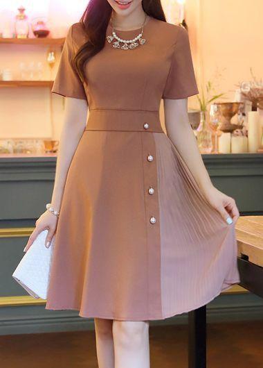 Short Sleeve Patchwork High Waist Dress on sale only US$32.06 now, buy cheap Short Sleeve Patchwork High Waist Dress at liligal.com