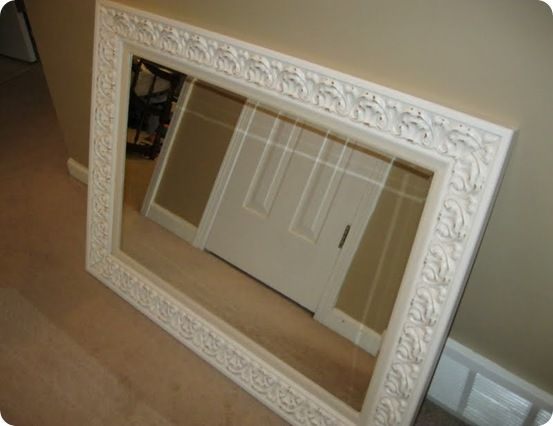 Knock off pier 1 White Embossed Mirror, website with tons of knockoffs...pottery barn, anthropology, restoration hardware and more!