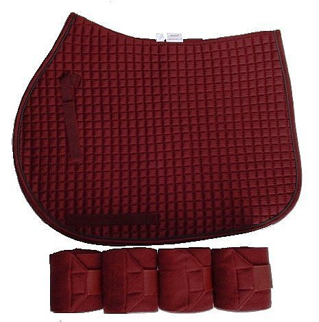 Burgundy Dressage or All Purpose Saddle Pad with matching Polo Wraps