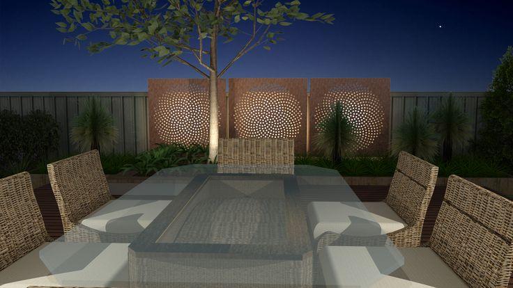 Modern Native Landscape Design - Lockleys Project Night Entertaining