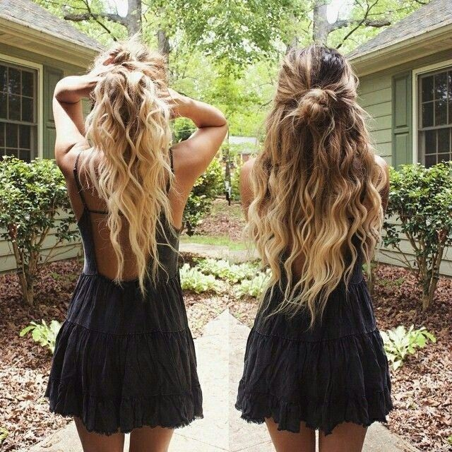 wavy hair half bun - Google Search