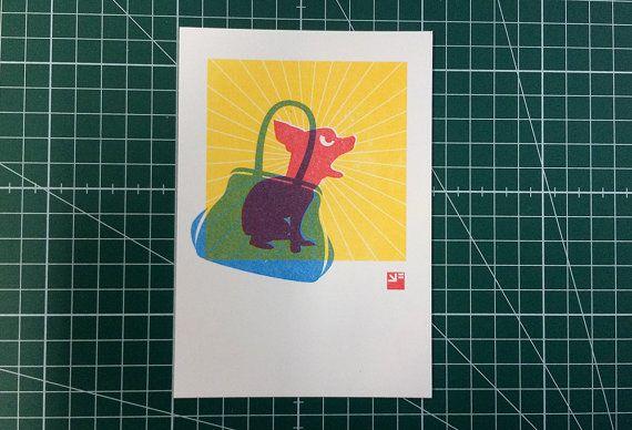 A6 kaart met envelop  riso print: chihuahua in door VrijFormaat