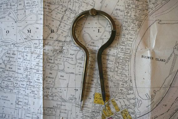 Brass Military Naval Callipers  Map Reading Nautical by FoundByHer