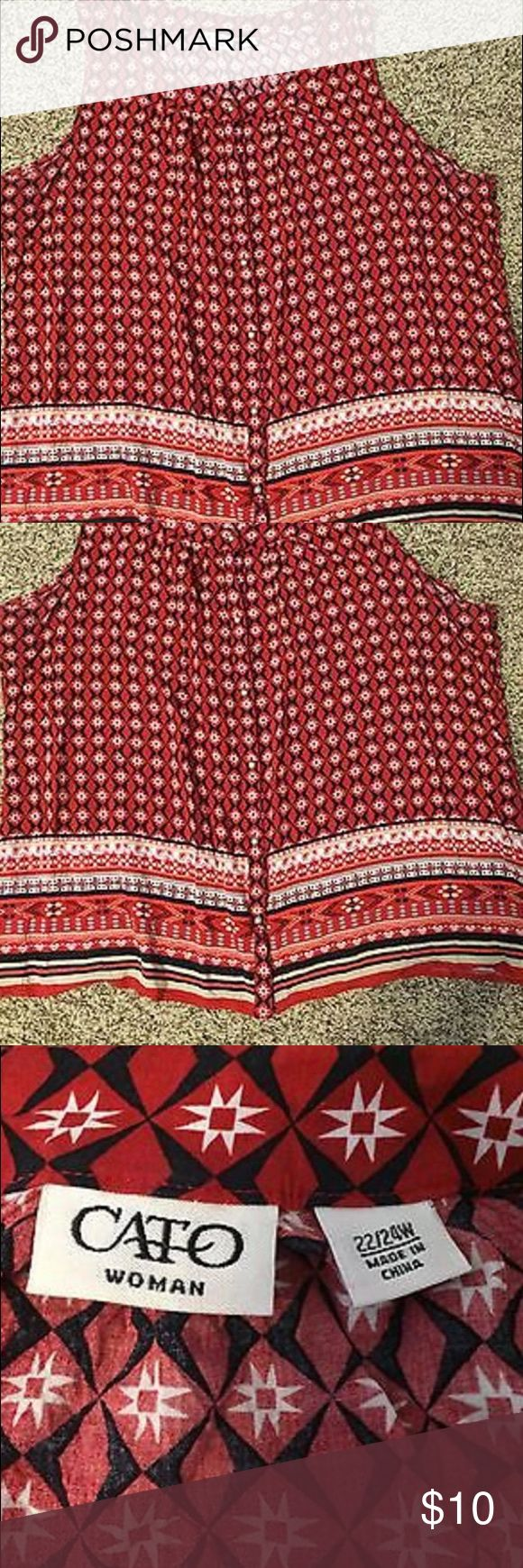 Cato Women's Plus 22/24W Tribal Blouse Tank Cool, flowing blouse buttons up front. Red, white, black, & tan colors. Some fading underneath arms (pictured). Cato Tops Blouses