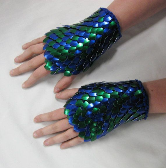 Scale Maille Gauntlets Knitted Dragonhide Armor by Crystalsidyll, $55.00
