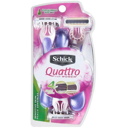 Schick Quattro For Women Sensitive Skin Hypo-Allergenic Aloe Disposable Razors