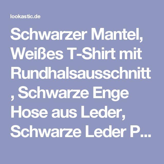 Schwarzer Mantel, Weißes T-Shirt mit Rundhalsausschnitt, Schwarze Enge Hose aus Leder, Schwarze Leder Pumps für Damen | Damenmode