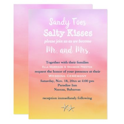 Watercolor Sandy Toes Wedding Invite sunset - diy cyo customize gift idea personalize