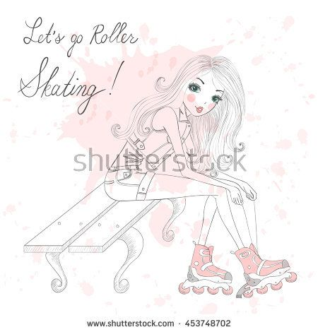 Beautiful, cute girl sitting and tie shoelaces on roller skates. Vector illustration.