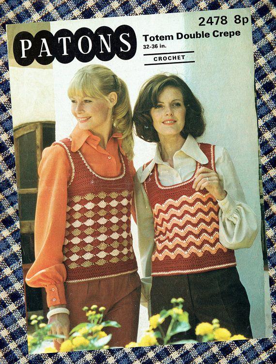 Original Vintage 1970s Ladies Groovy Tank Top Crochet Pattern