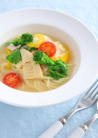 春野菜のオニオンスープパスタ のレシピ・作り方 │ABCクッキングスタジオのレシピ | 料理教室・スクールならABCクッキングスタジオ