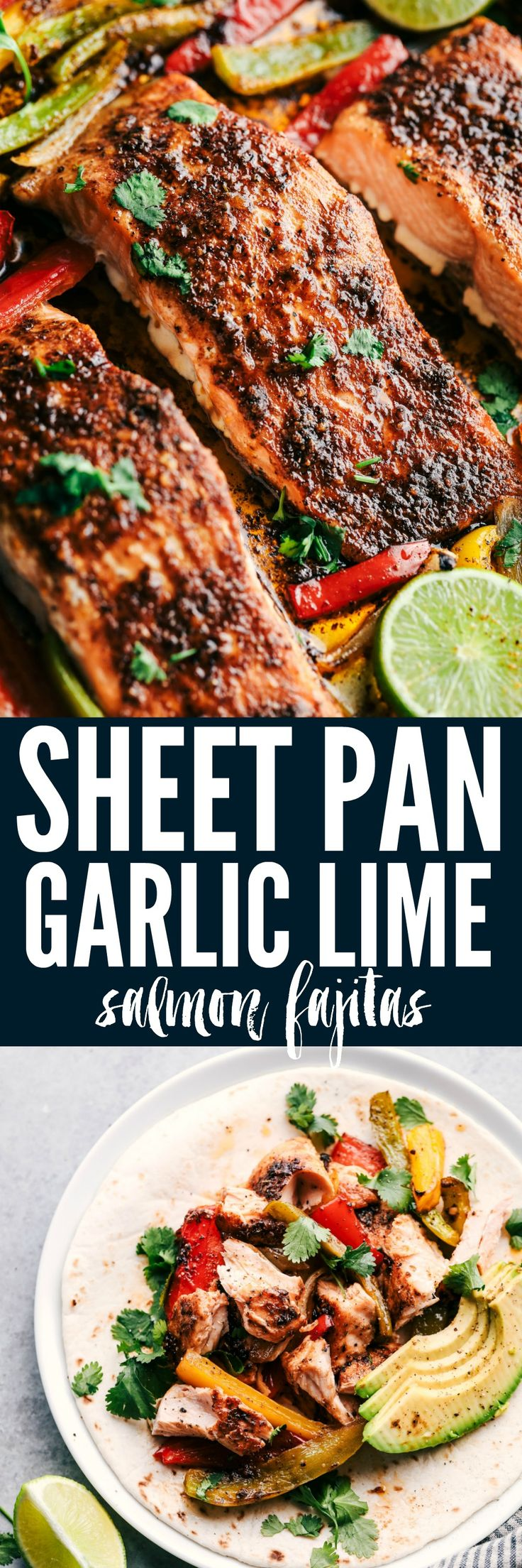 Sheet Pan Garlic Lime Salmon Fajitas are so incredibly easy and packed with so much flavor! Tender and flaky salmon with peppers are all made on one sheet pan for easy cleanup!