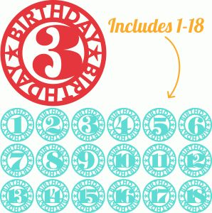 Silhouette Design Store - View Design #47158: 18 lori whitlock birthday age labels