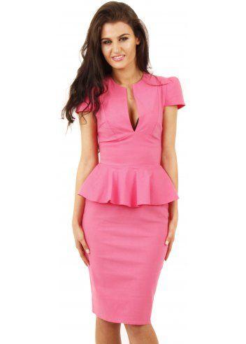Hot pink peplum pencil dress for Peplum dresses for wedding guest