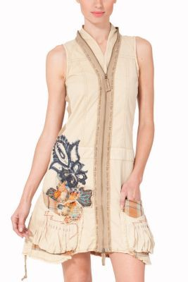 Desigual women's Aries dress from the Love range. A short, sleeveless dress with a front zip and a frayed asymmetric hem. Wow!