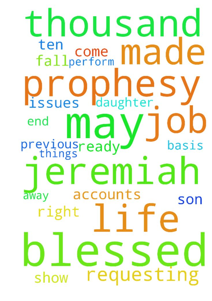Requesting prayer that the prophesy made about me in - Requesting prayer that the prophesy made about me in 2013 be fulfilled in 2017; also that I am blessed at work with many new accounts on a steady basis; that my baby son be blessed and protected all the days of his life; the issues affecting my previous employers will never affect me in any way. My adult daughter will get away from the guy she has taken up with and get her life together. Jeremiah 333 you will call upon me, and I shall…