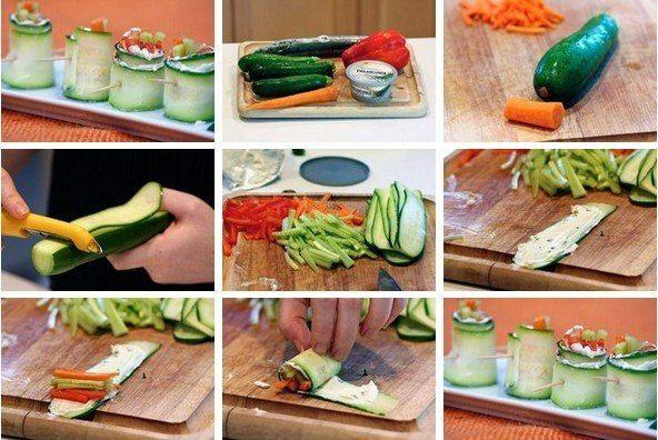 Овощные роллы    Ингредиенты:  Цуккини – 2 шт  Красный перец – 1 шт (нарезанный соломкой)  Морковь – 1 шт (нарезанная соломкой)  Огурец – 1 шт (нарезанный соломкой)  Сливочный сыр    Приготовление:  - С помощью овощечистки нарежьте на тонкие «ленты» цуккини.  - На каждую нанесите сливочный сыр.  - На один край «ленты» выложите немного соломки морковки, огурца и перца.  - Скрутите роллы и проткните каждый шпажкой или зубочисткой. БОЛЬШЕ РЕЦЕПТОВ НА http://uzhin.org/