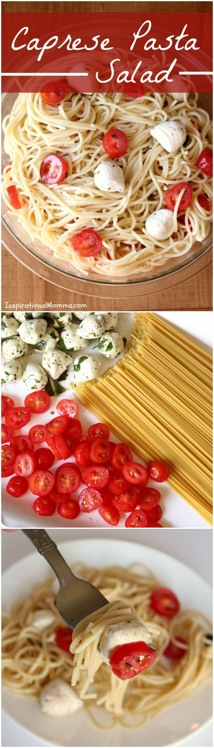 Caprese Pasta Salad is light and fresh! A perfect side dish for any meal! Easy to make and filled with a great combination of just three ingredients!