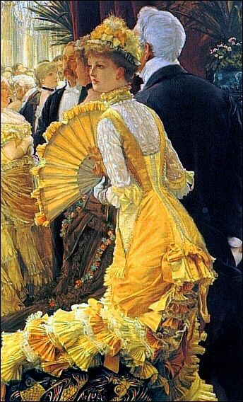 """The Ball"" (1878)  ......  JAMES TISSOT ...  I know of at least three paintings with this same composition ......   .    10/15/1836 - 8/8/1902"