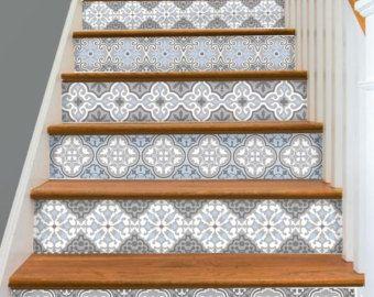 15steps Stair Riser Vinyl Strips Removable Sticker Peel & Stick : Barcelona Bmix3Blues