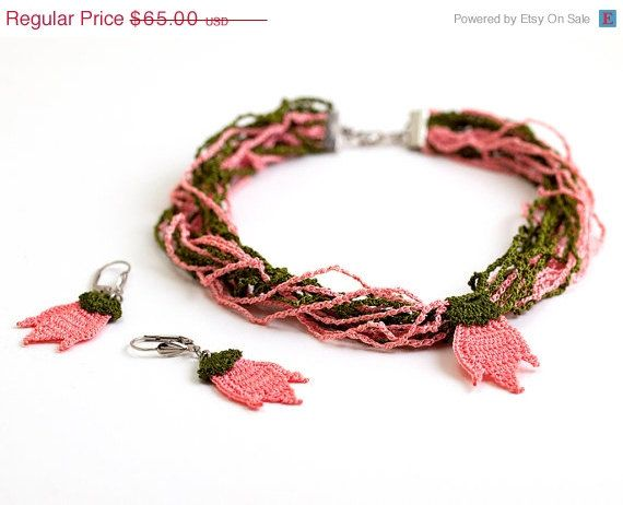 SALE Crochet Lace Tulip  Pendant Necklace and by PinaraDesign, $48.75