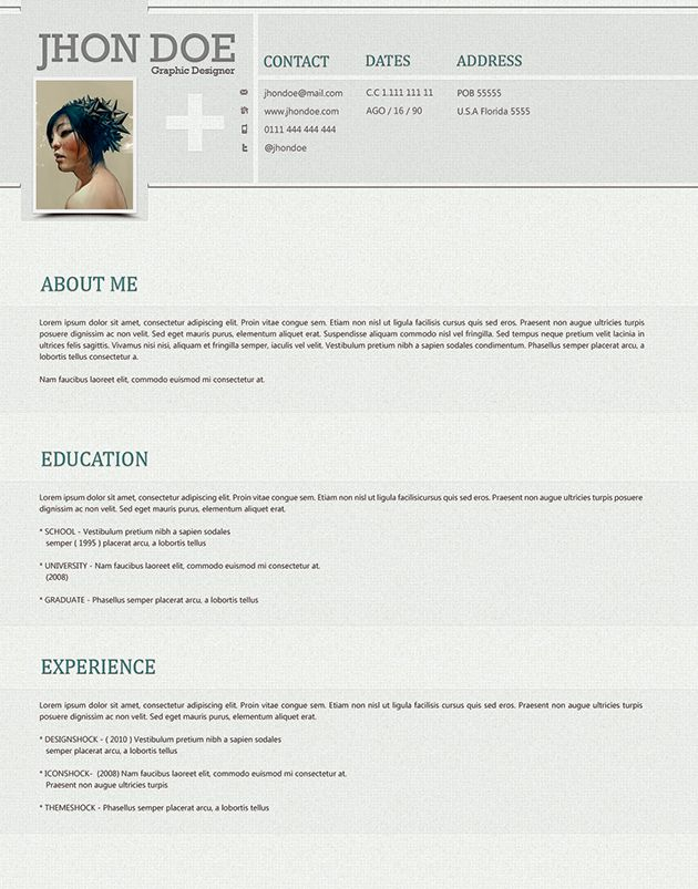 82 best Resume Templates \/ Plantillas images on Pinterest Free - single page resume