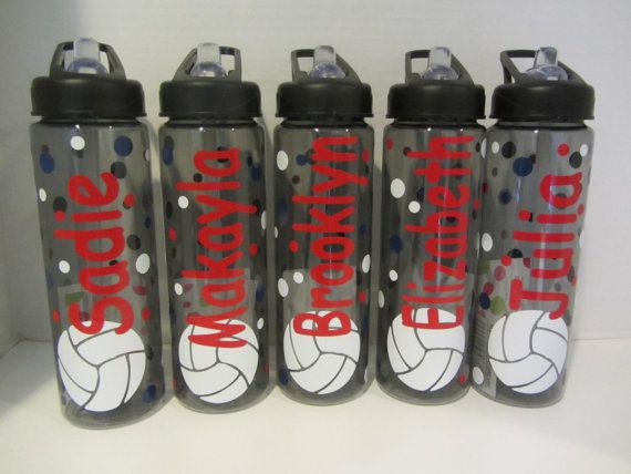 9 Personalized water bottles - soccer, volleyball or other sport - NEW - mix and match - clear or smoke plastic, BPA free with flip top on Etsy, $99.00