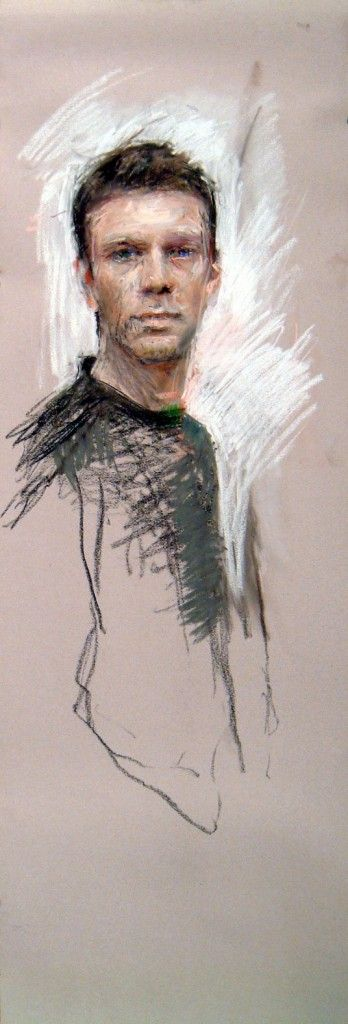 "Pastel Marvels: Ben Henriques, ""Self Portrait,"" pastel, 50 x 16 in"