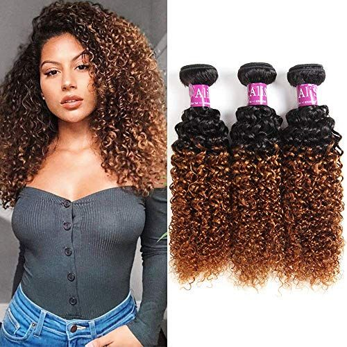 Buy Alisfeel Ombre Curly Bundles Brazilian Curly Hair Wet Wavy Human Hair Weave 3bundles Kinky Curly 1b/30 Black Brown (20 22 24) online