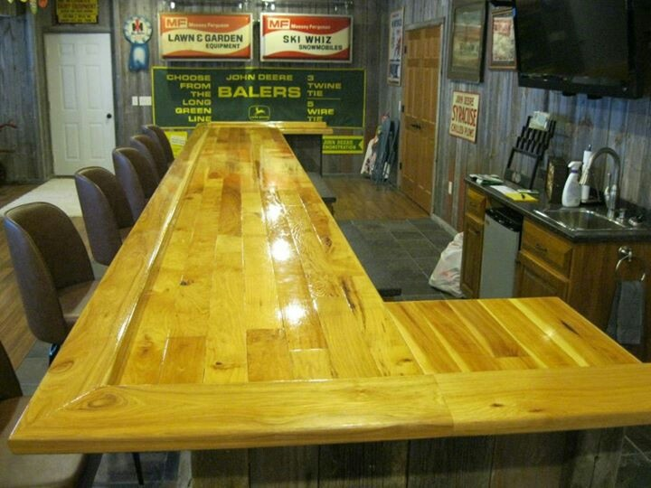 Rustic Hickory Bar Top