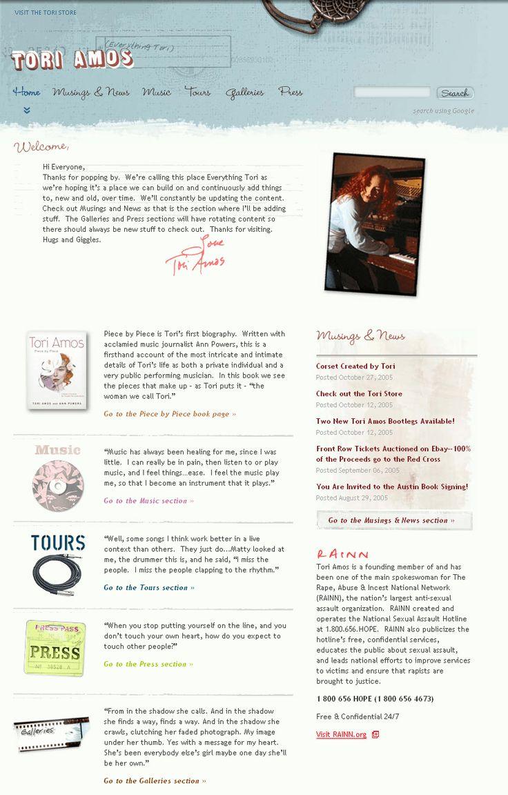 Tori Amos website in 2005