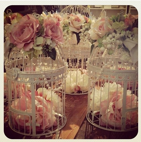 Caged centerpieces wedding pink vintage flowers roses white elegant berries rustic centerpieces cages