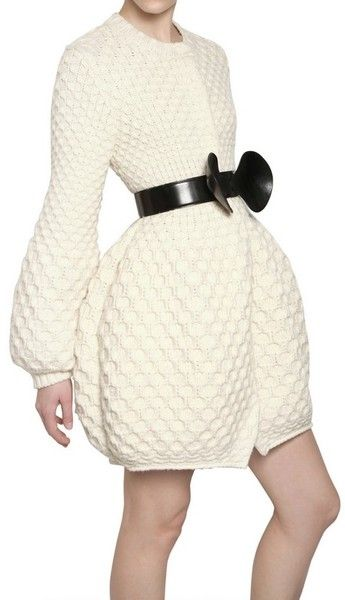 MCQUEEN Honeycomb Wool Knit Coat