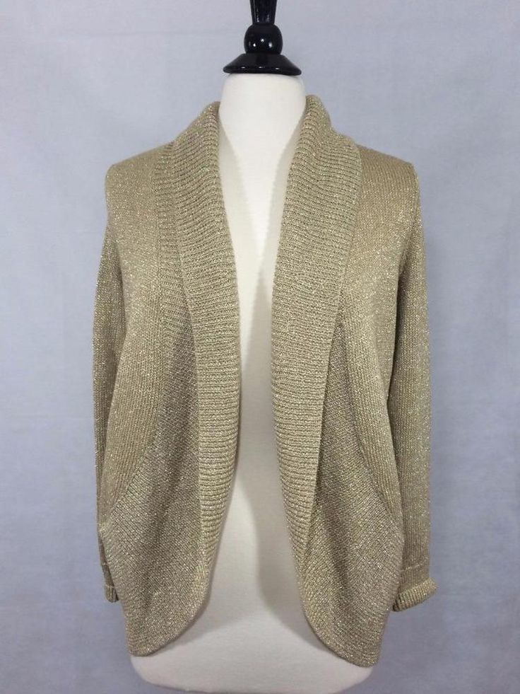CHICO'S NEW $109 Addison Shine Long Sleeve Cardigan 0 = 4/6 Gold Womens Top NWT #Chicos #Blazer #Career