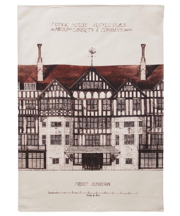 Black Liberty Tudor Building Tea Towel, Liberty.co.uk