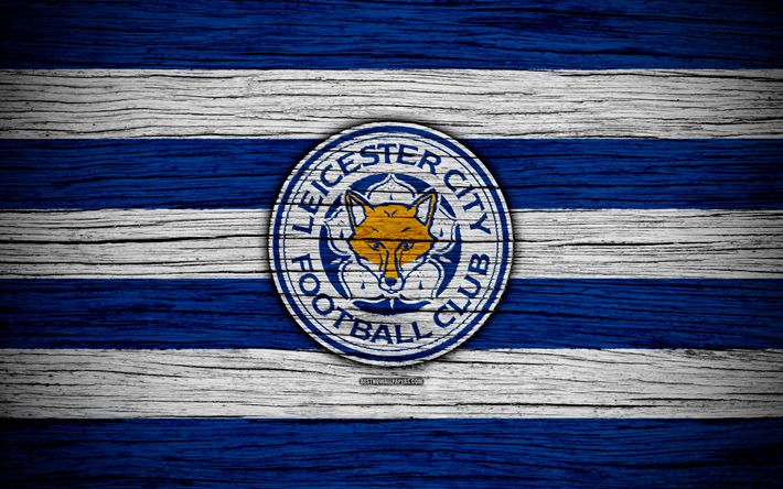 Download wallpapers Leicester City, 4k, Premier League, logo, England, wooden texture, FC Leicester City, soccer, football, Leicester City FC