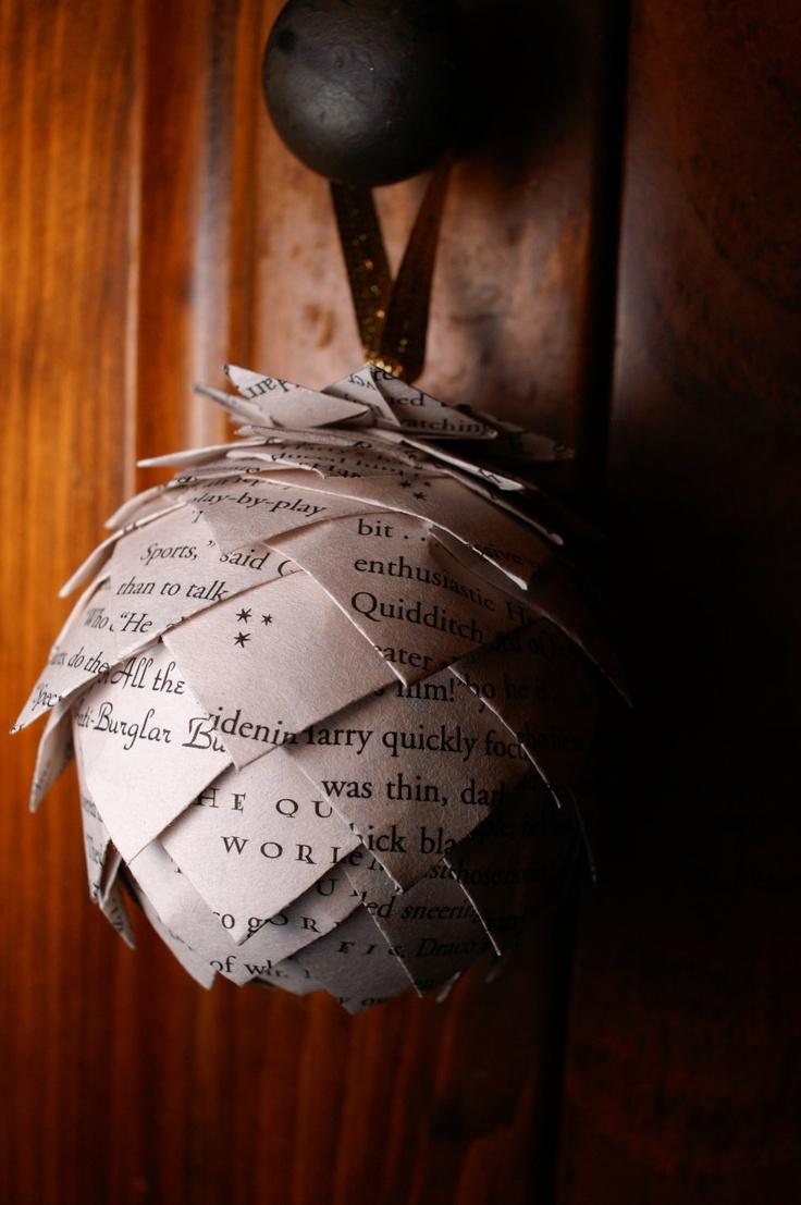 Pine Cone Christmas Ornament- Custom Harry Potter Ornament, Ornament Made From Harry Potter Book Pages. $10.00, via Etsy.