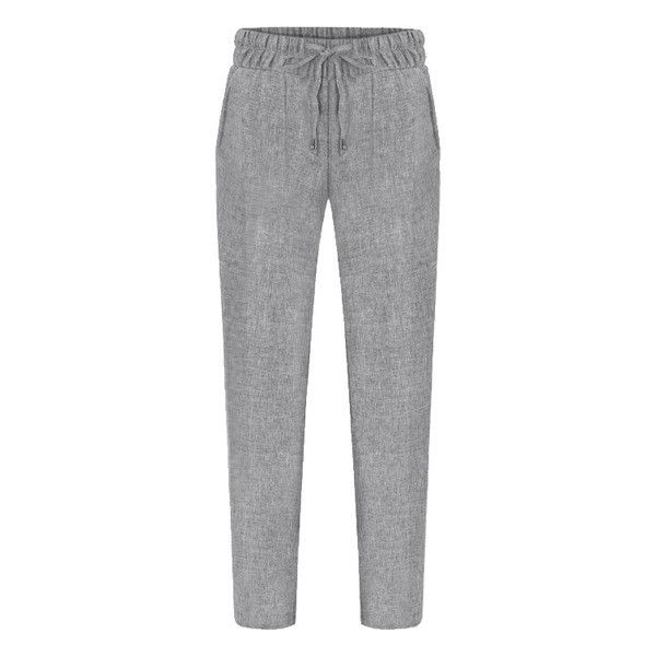 SheIn(sheinside) Elastic Waist Drawstring Pant ($19) ❤ liked on Polyvore featuring pants, bottoms, trousers, pants/jeans, sheinside, grey, loose pants, loose fitting pants, grey pants and gray pants