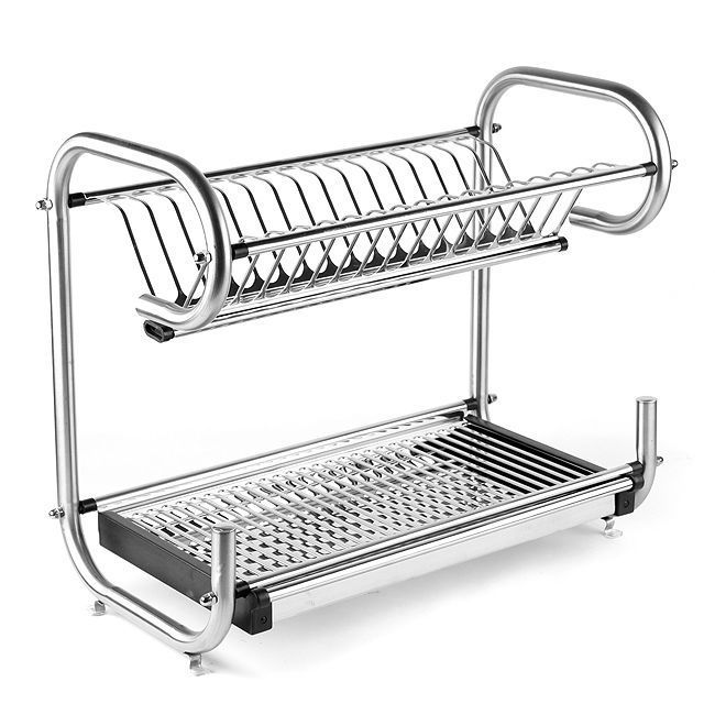 Stainless 2 Tire Dish Drying Stand Shelf Kitchen Sink Rack Plate Storage Shelves