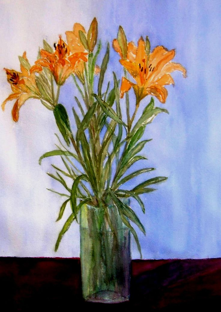 """Yellow lilies"" Original watercolor painting by Britta Bergström-Jungell."