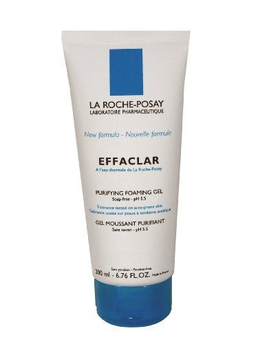 La Roche-Posay Effaclar Purifying Foaming Gel, 6.76-Ounce Tube by La Roche-Posay. $18.53. Eliminates impurities and excess sebum while leaving skin clear and refreshed. Recommended for oily to combination skin and skin irritated by acne treatments. Gently cleans the skin without overdrying. Soap-free, Colorant-free, alcohol-free & paraben-free. This daily use gel cleanser eliminates excess sebum and tightens the pores of oily and thickened skin without causing dryness.