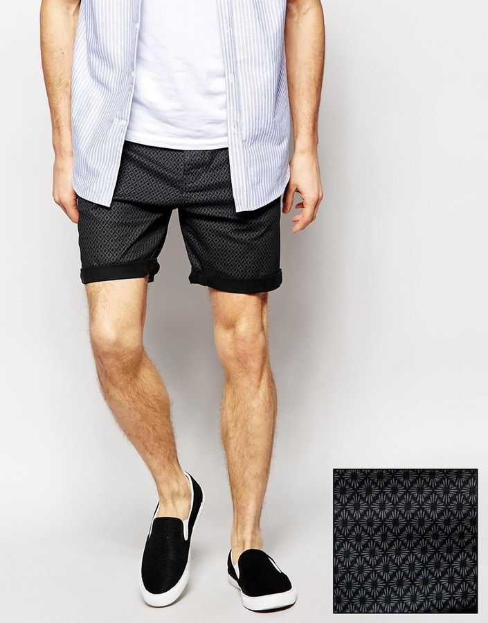 $40, Asos Brand Chino Shorts With Dark Print. Sold by Asos. Click for more info: https://lookastic.com/men/shop_items/235098/redirect