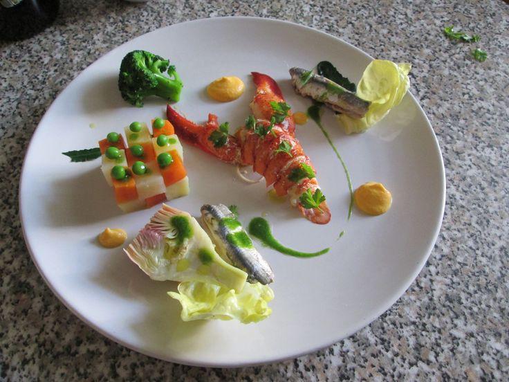 Gino D'Aquino / 1'Insalata   di astice  verdure e  alici  mayonese di carota  Gino D'Aquino