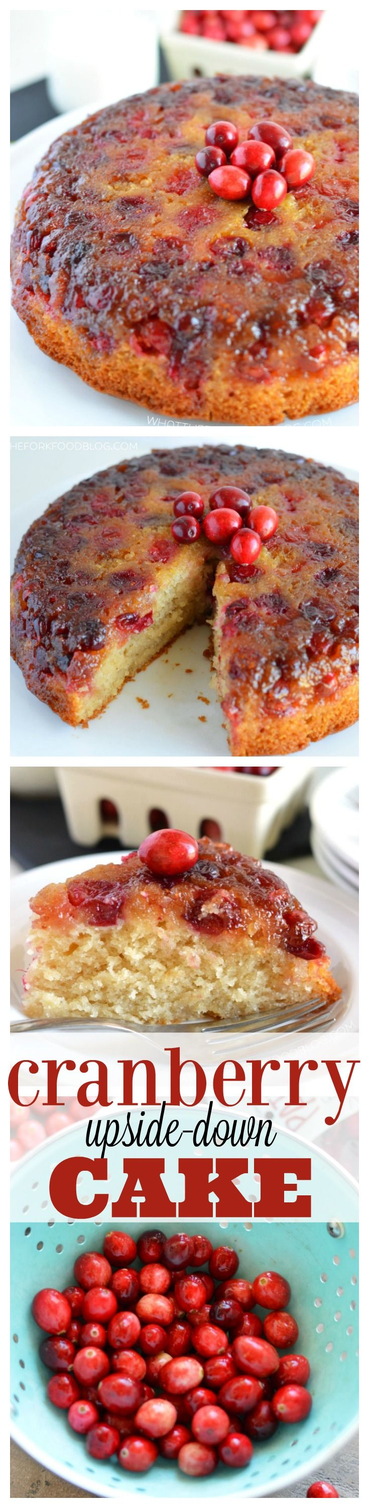 This Cranberry Upside-Down cake is the perfect combination of sweet and tart. Fresh cranberries are the star of this delicious dessert. Serve it for Thanksgiving, Christmas, or any time during cranberry season! Easy dessert recipe from @whattheforkblog | whattheforkfoodblog | gluten free desserts | cranberry recipes | recipes with fresh cranberries | how to bake with cranberries | upside-down cake recipes | how to make an upside-down cake | gluten free cake | easy cake recipes