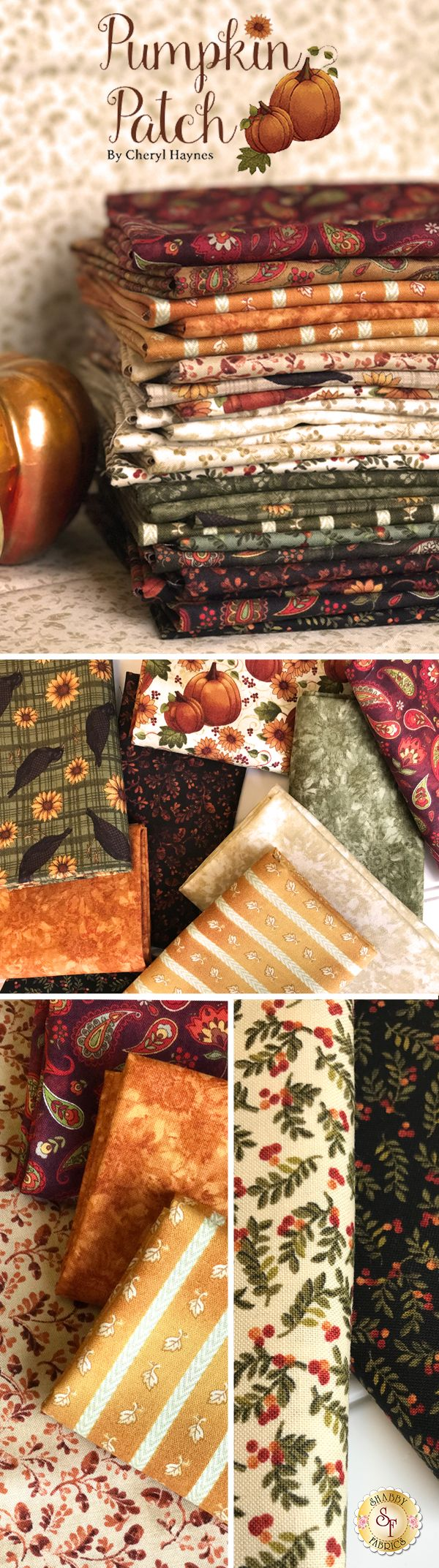 Pumpkin Patch by Cheryl Haynes for Benartex Fabrics is a beautiufl autumn fabric collection available at Shabby Fabrics!
