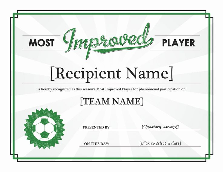 Most Improved Player certificate - Templates - Office Awards - award of excellence certificate template