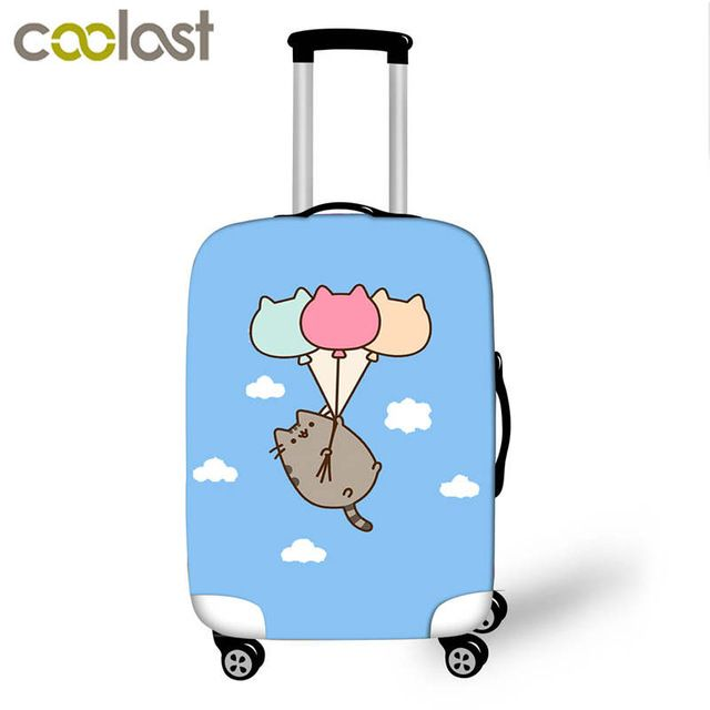 bb47fe95e8d6 Pusheen Cat Luggage Cover for 18-28 Inch Trolley Suitcase Elastic Girls  Cartoon Case Cover Cute Cat Baggage Travel Accessories