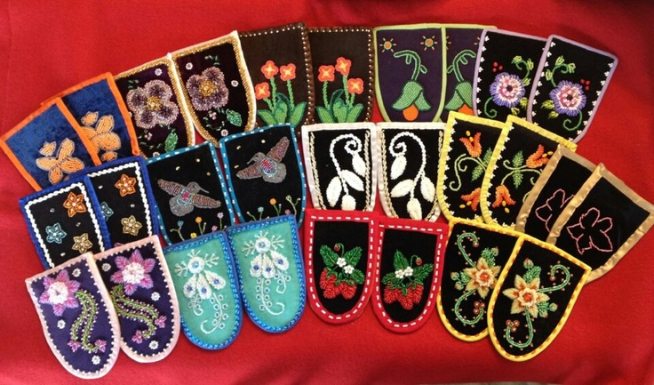 Beaded moccasin vamps for the Walking With Our Sisters exhibit in Canada. Beading done by Seneca beaders from the Cattaraugus Indian Territory